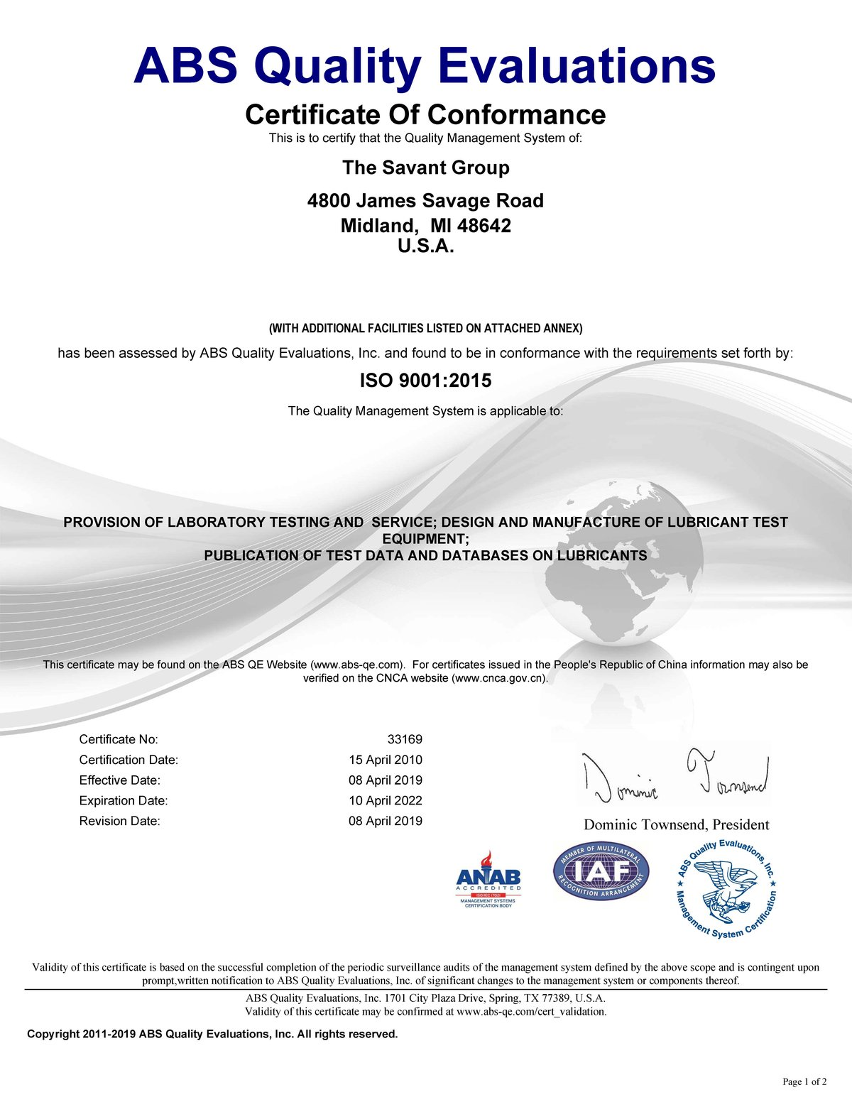 Certificate Page 1